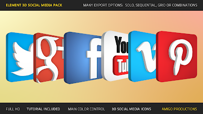 Social icons pack 3d download