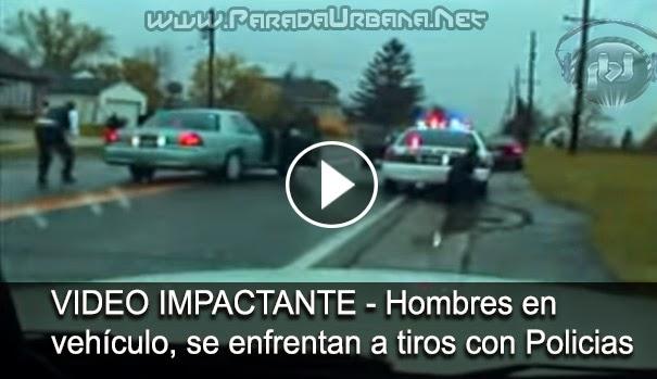VIDEO INSOLITO - Camara capta a Hombres en un vehiculo enfrentandose a tipos con policias