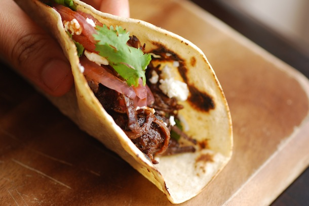 Ancho-Pomegranate Pulled Brisket Tacos - Always Order Dessert