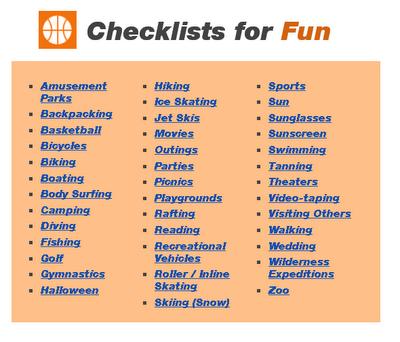 Categories Under Fun from Checklist.com