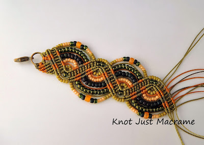 Olive, orange and navy micro macrame work in progress
