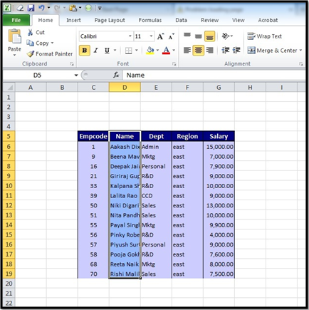 how to make hide columns with quick acces in excel