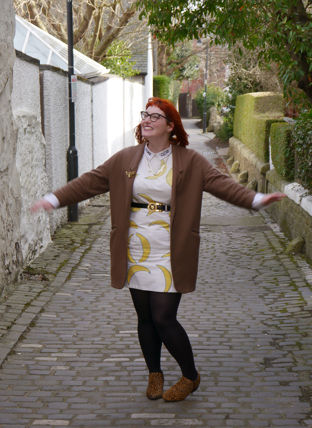 What Helen Wore, Scottish Blogger, Dundee, Dundee Blogger, Red Head, Ginger, Banana Dress, Claptrap Boutique, Duo Boots, Leopard Print Boots, Sludge Coat, Karen Mabon Seagull Necklace, Monki Shirt, Come Close Shirt, Scottish Style, Tiger Belt, Cat Eye Glasses