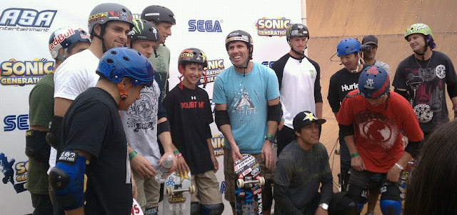 The first Sonic Generations Of Skate at Venice Beach: Tony Hawk, Andy Macdonald, Mitchie Brusco, Kevin Staab, Sandro Dias, Paul-Luc Ronchetti, Cab, PLG, Elliot Sloan, Sergie Ventura, Lincoln Ueda, Adam Taylor