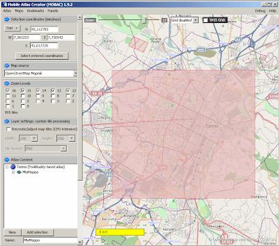Mobile Atlas Creator MOBAC - creazione mappa