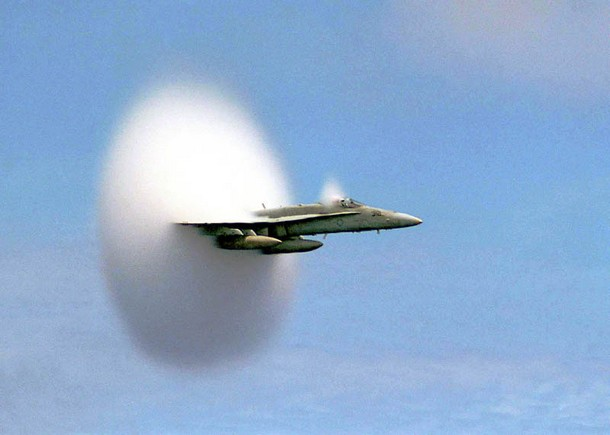 airplane breaking the sound-barrier