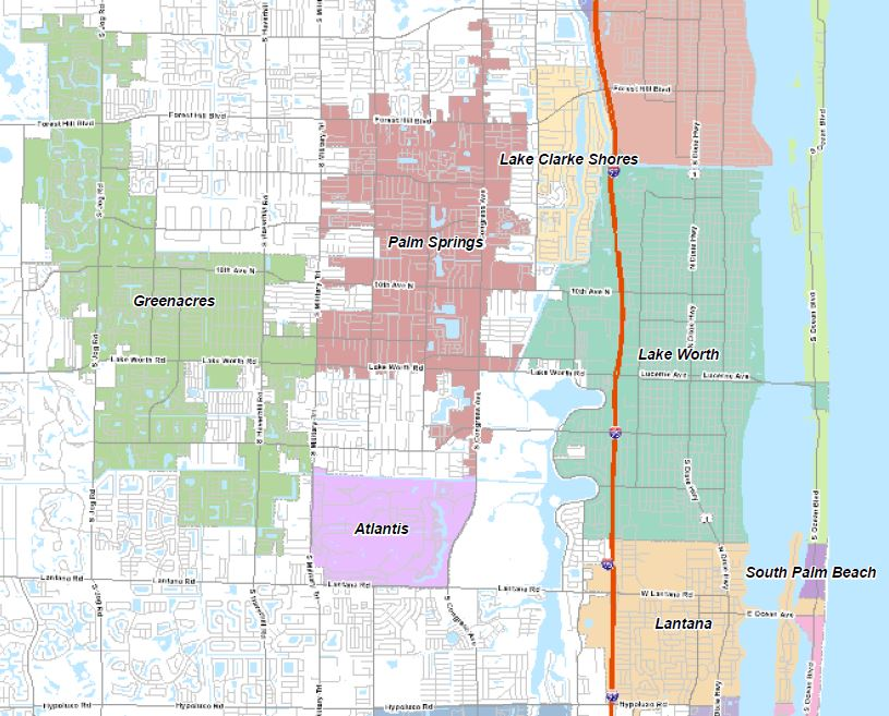 '[W]estern Lake Worth' does not exist. Falsely reported in Post 'Local' section. Click on map: