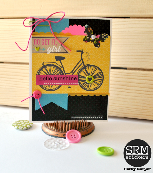 SRM Stickers Blog - Spring Cards with Cathy H. - #cards #thankyou #golddoilies #doilies #stickers #twine #punchedpieces #stitches #borders
