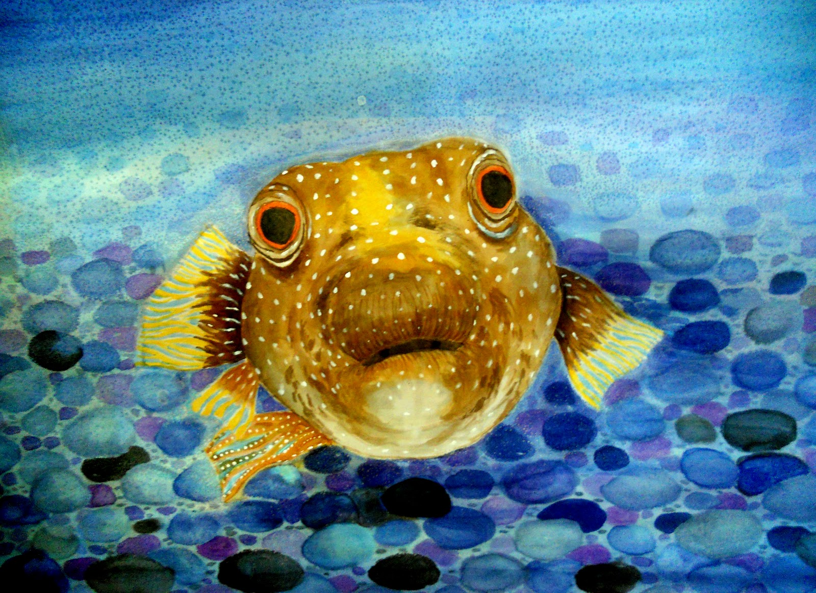 Painted memories on silk october 2011 for Japanese puffer fish
