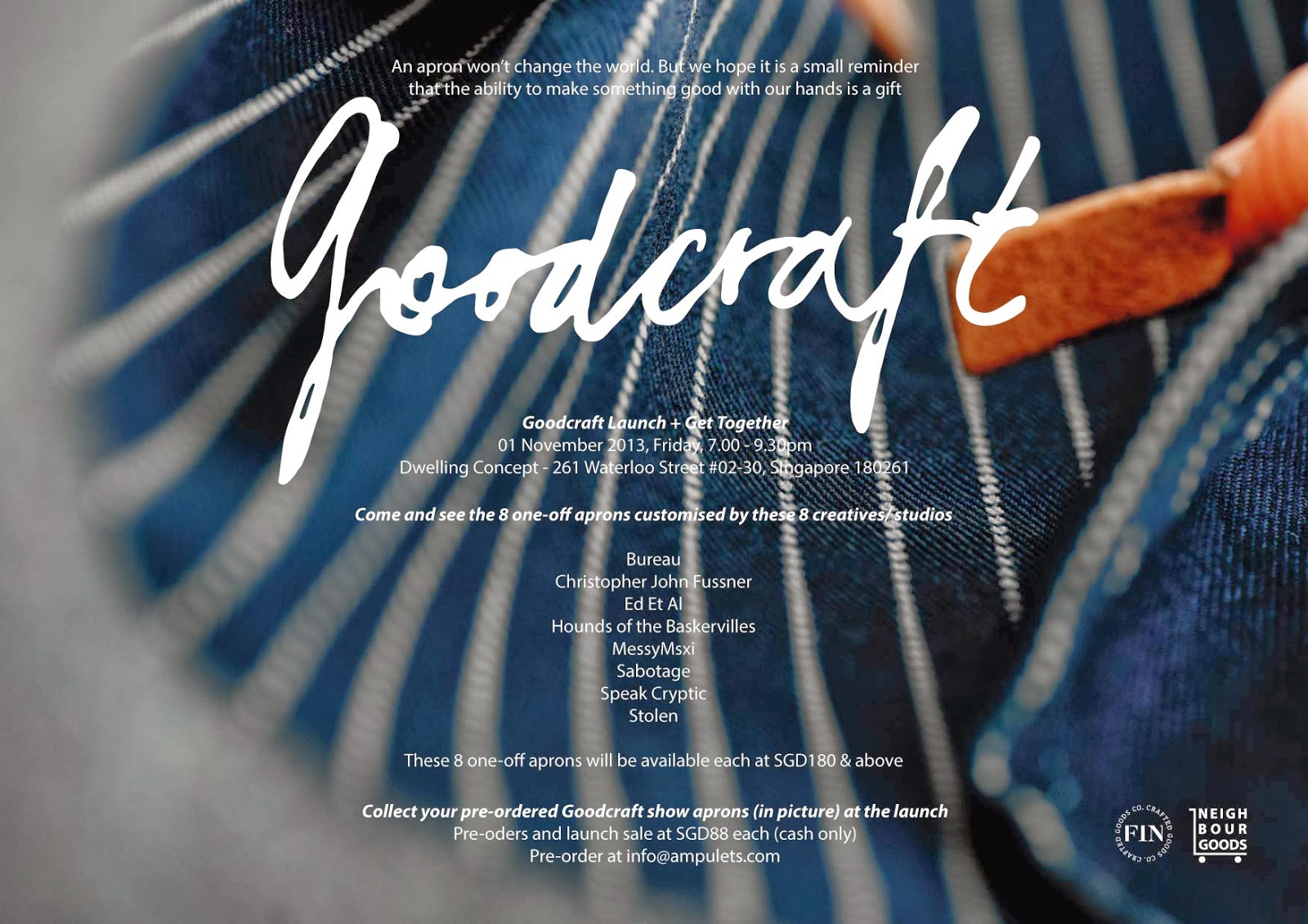 Blue apron singapore -  As Well As The Exhibition For Neighbourgoods Goodcraft Project Goodcraft Presents The Apron As A Reminder Of The Importance Of Craftsmanship