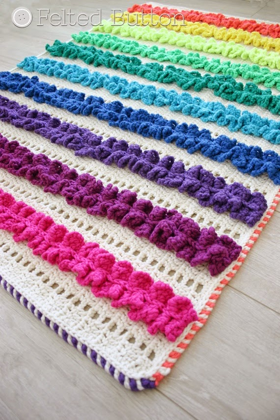 Felted Button Colorful Crochet Patterns Ruffled Ribbons Blanket