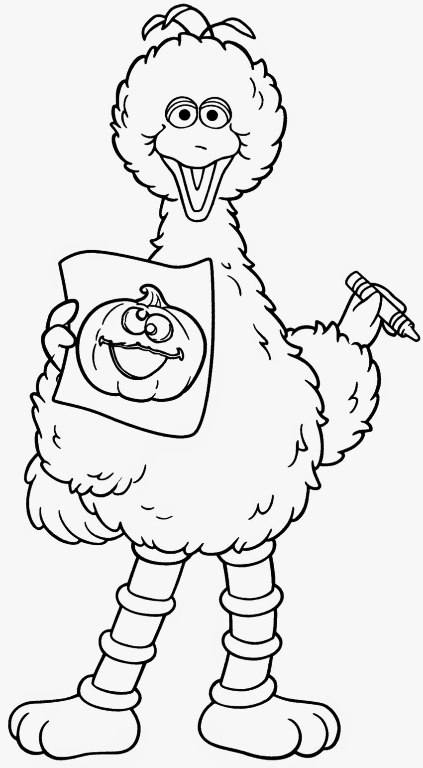 Sesame Street Big Bird Halloween Coloring Pages
