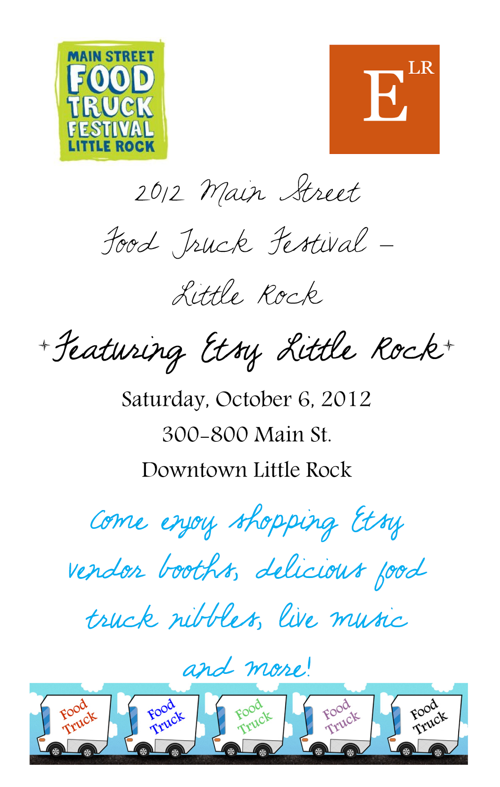 Etsy Little Rock  Little Rock Food Truck Festival Flyer