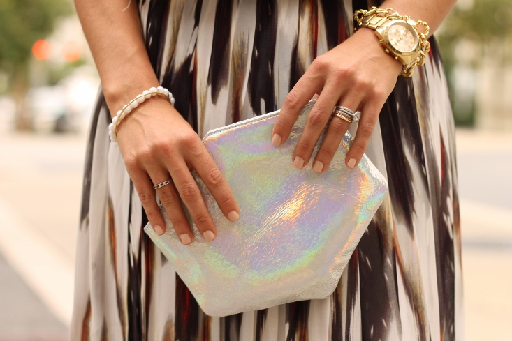 Ruti Horn Holograph Hexagon Shape clutch bag