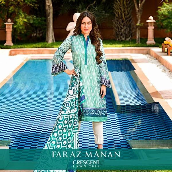 FarazMananCrescentLawn2014 wwwfashionhuntworldblogspotcom 06 - Faraz Manan Crescent Lawn 2014