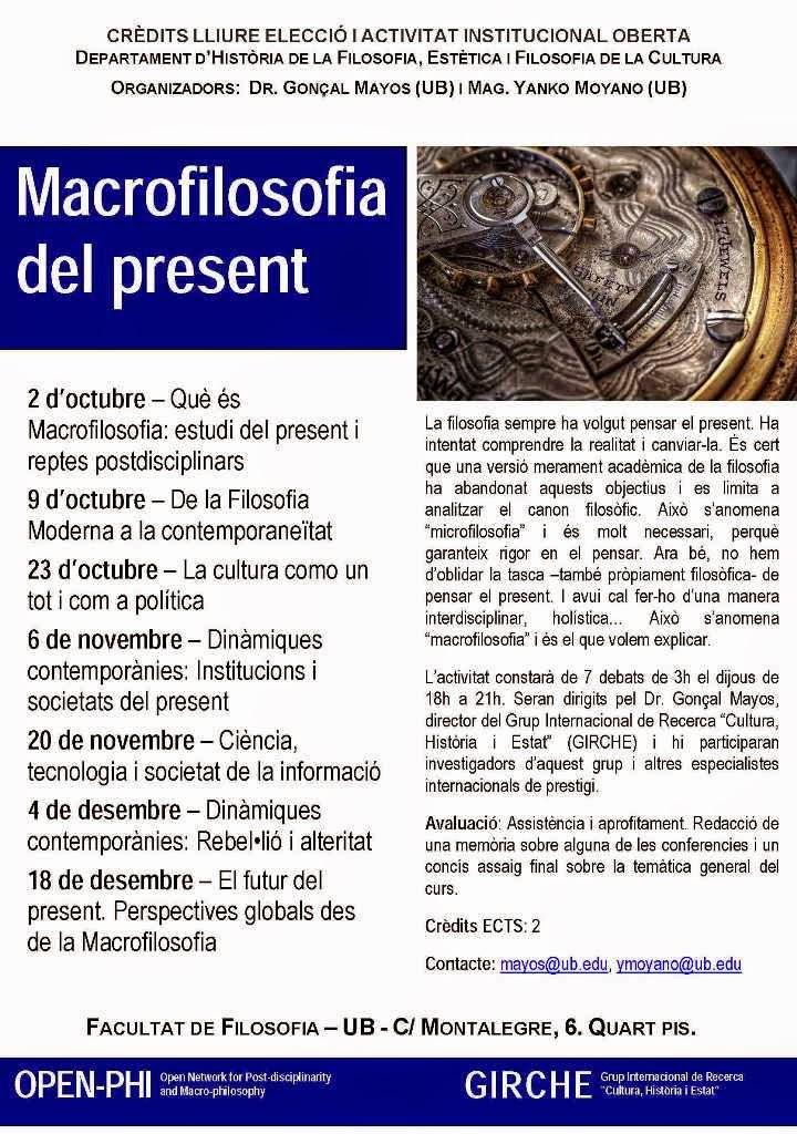 """Curso abierto """"Macrofilosofía del Presente"""" en la UB"""