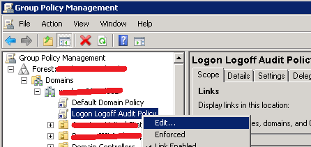 enable logon logoff audit events