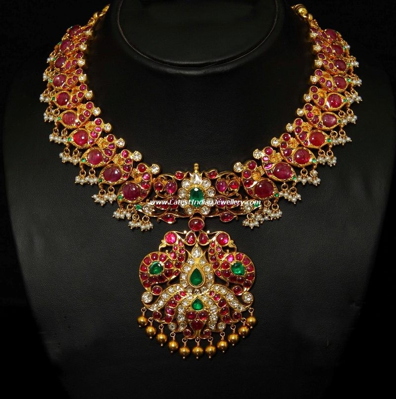 stunning peacock necklace with rubies