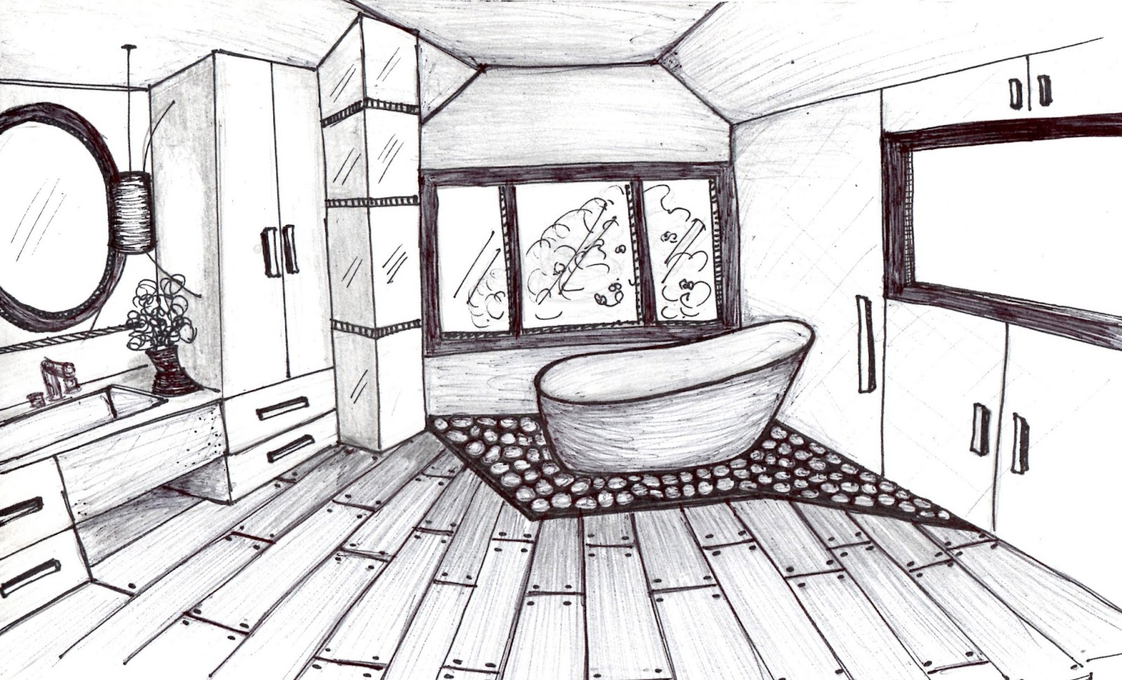 master bathroom sketch - Interior Design Sketches