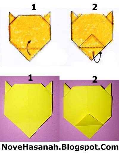 cara membuat origami harimau