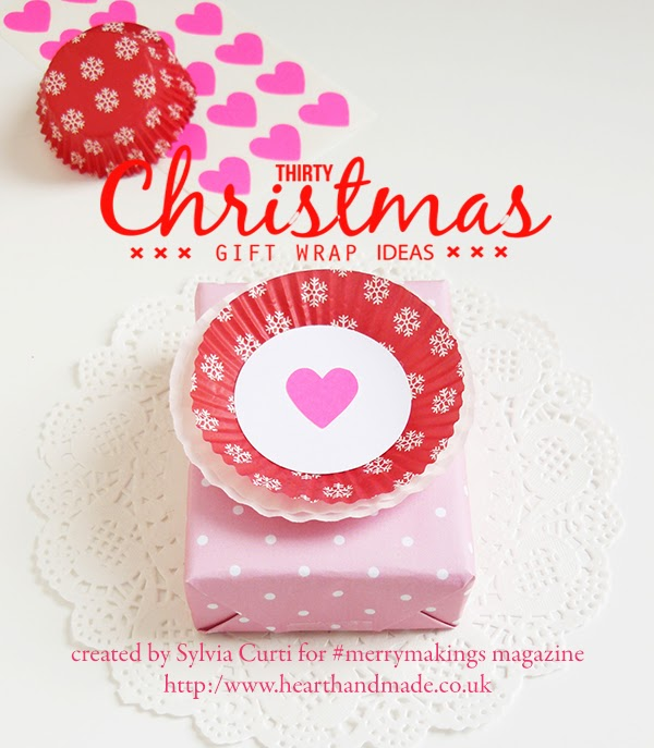 30 Christmas gift wrap ideas - Cupcake liners and stickers #merrymakings