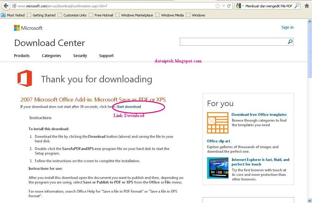 07 Microsoft Office Add-in: Microsoft Save as PDF or XPS