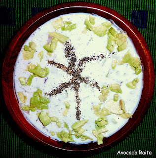 avocado raita / spiced yogurt with avocado