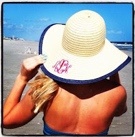 Monogrammed Derby Hat Floppy Navy Outline