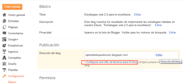 Configurar una URL de terceros en tu Blog.