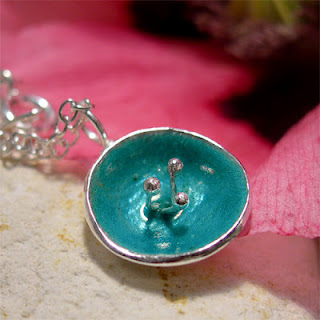 Poppy Jewellery, Sea Green Enamel Poppy Flower Pendant Necklace, Fused Glass Enamel