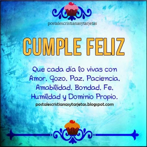 Cumpleaños Feliz recibiendo Ricas Bendiciones del Señor. Imagen cristiana con mensaje cristiano por Mery Bracho. Postales cristianas y tarjetas.