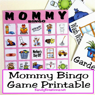Play bingo on Mother's Day with this fun printable game freebie.  Your kids will have fun while you show them all the things that moms do in a day.