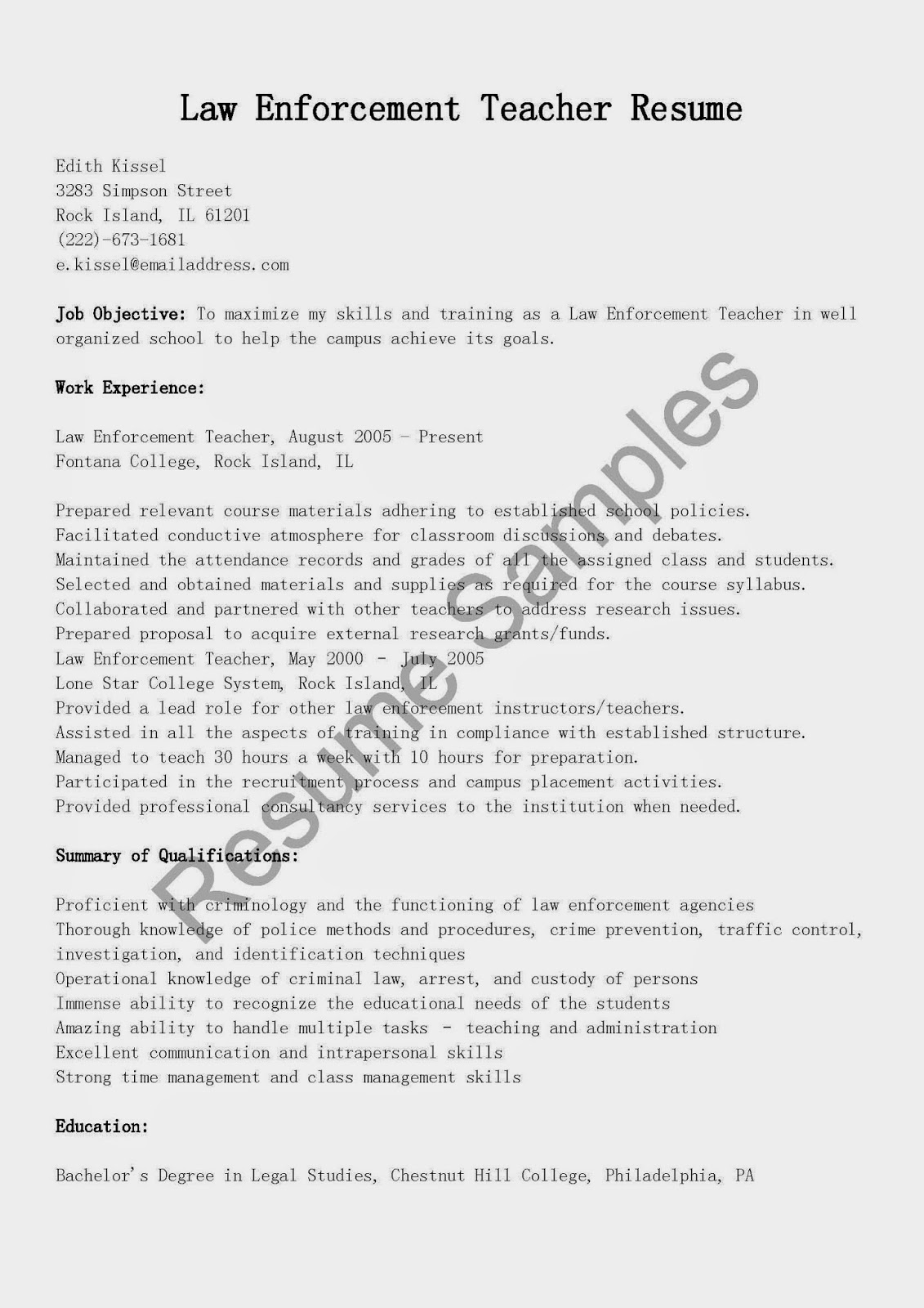 resume samples  law enforcement teacher resume sample