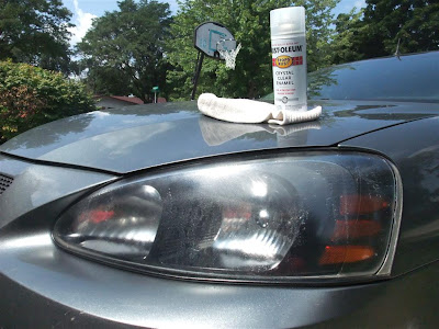 spray clear coat over fogged headlights, scrached, clear