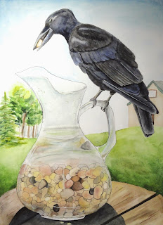 Aesop fable blackbird and the water glass