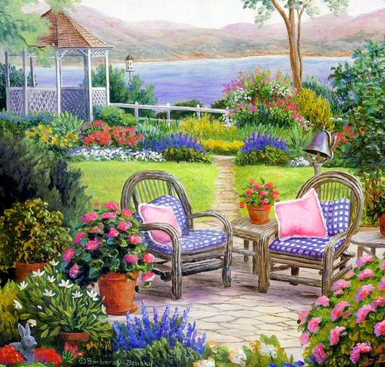 Cuadros modernos pinturas y dibujos cuadros de casas con for Dibujos de jardines