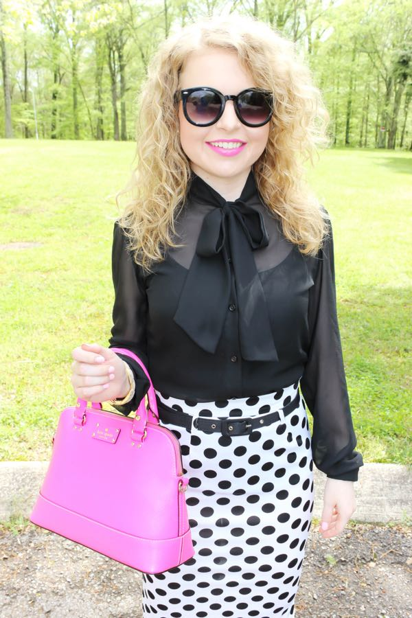 American Apparel chiffon pussybow top, Kate Spade bag, Jessica Simpson pink heels, fashion blog for young professionals, Nashville style blog