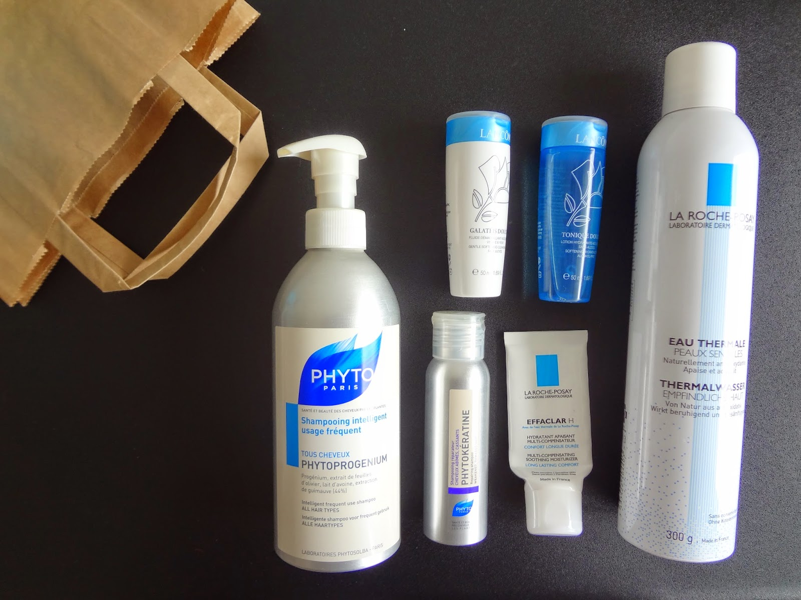 revue-produits-termines-finis-empties-beauty-trash-review-products-phyto-phytoprogenium-shampoing-phytokeratine-hair-lancome-lait-demaquillante-galateis-tonique-douceur-la-rcohe-posay-effaclar-h-hydratant-apaisant-compensateur-eau-thermale-peaux-sensibles