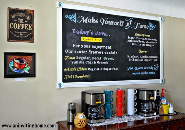 an inviting home coffee bar