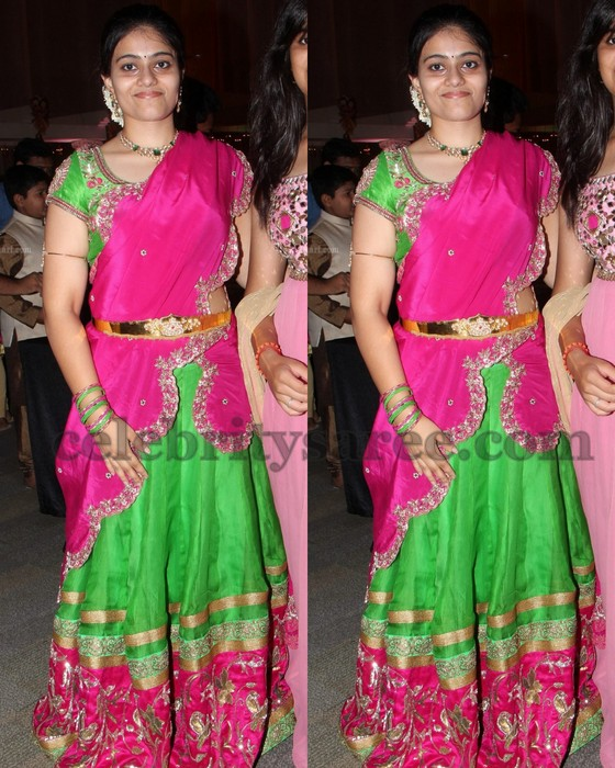 Girl in Attractive Work Half Sari