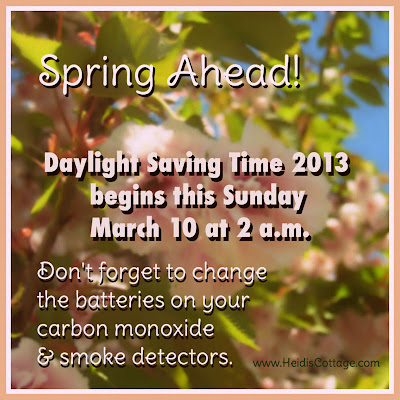 Daylight Savings Time starts March 10, 2013 at 2a.m. Change your smoke detector batteries.