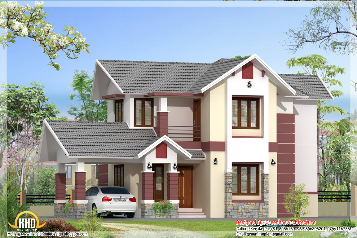 Modern 3 bedroom kerala home elevation 1680 for Modern house in kerala