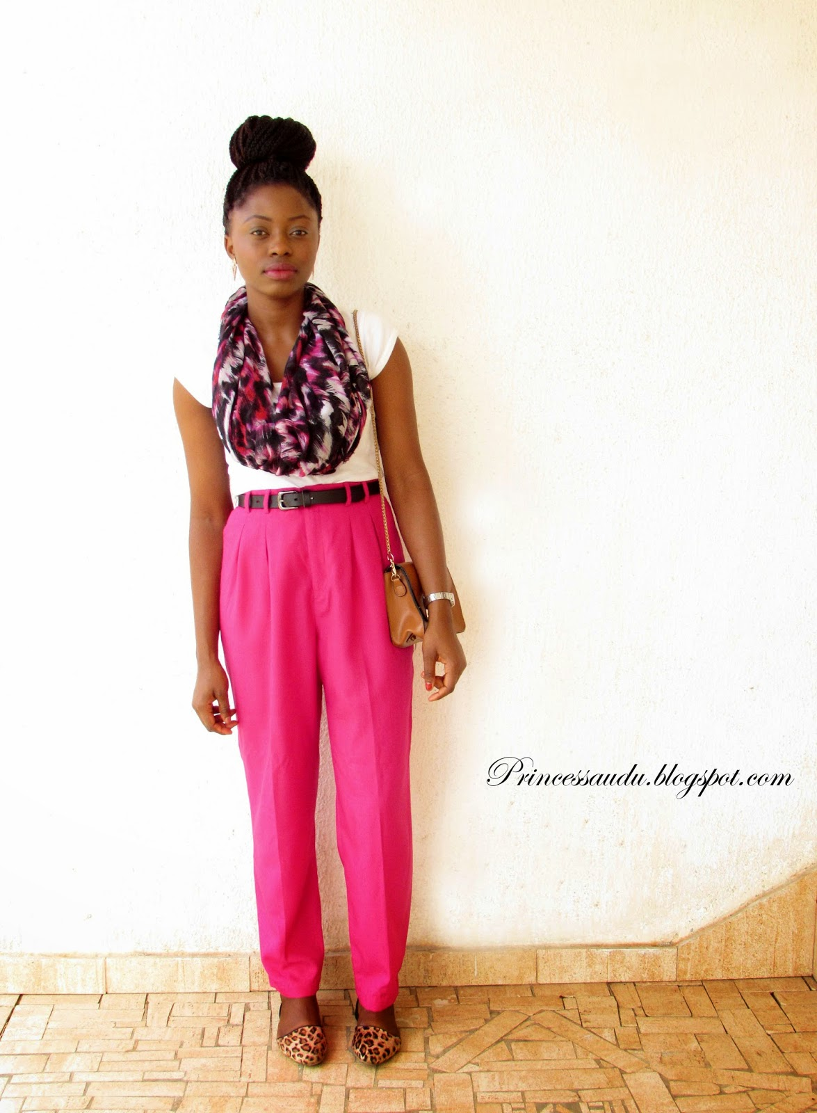 Lookbook, leopard print flats. how to tie a scarf, high-waist pants, pink