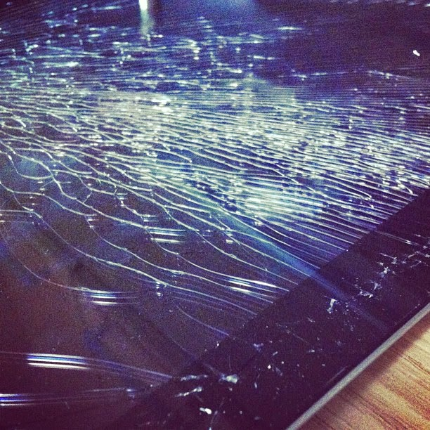 Broken device screen, source: flickr.com/photos/katyzaf/