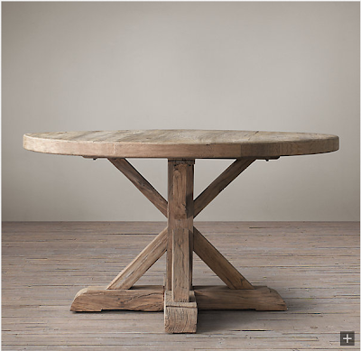 restoration hardware distressed elm belgian trestle round dining table
