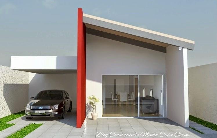 Construindo minha casa clean fachadas de casas simples for Frentes de casas pequenas