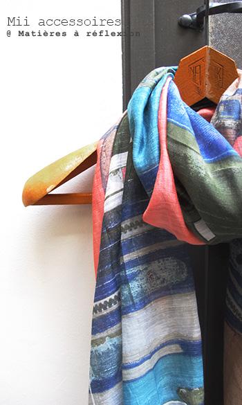 Soldes accessoire Mii foulard imprimé valise soie coton soldes