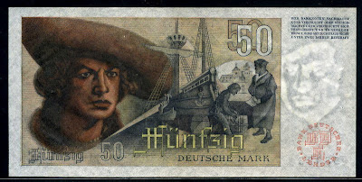 Germany bank notes 50 Deutsche Mark banknote