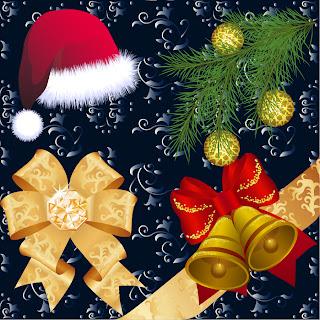 漫画タッチのクリスマス飾りと背景 beautiful christmas ornaments イラスト素材1