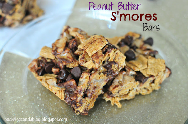 NO BAKE Peanut Butter Smores Bars @Backforseconds https://backforseconds.com #dessert #nobake #smores